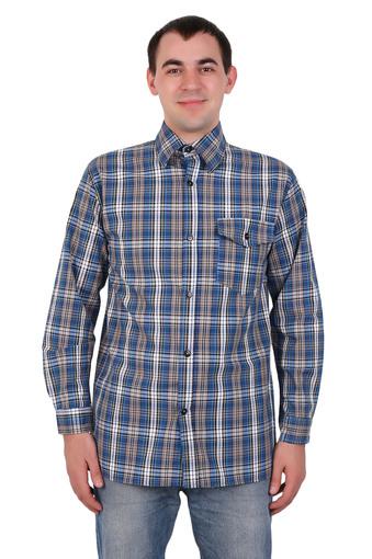 Сорочка мужская шотландка длинный рукав Арт 001