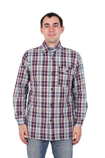 Сорочка мужская шотландка длинный рукав Арт 003