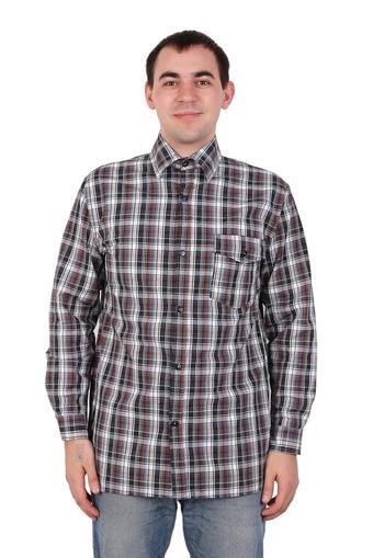 Сорочка мужская шотландка длинный рукав Арт 005