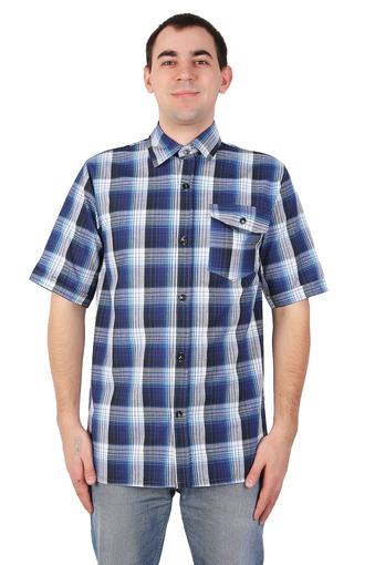 Сорочка мужская шотландка короткий рукав 002