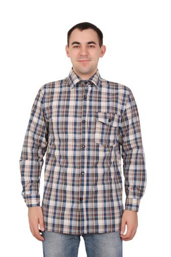 Сорочка мужская шотландка длинный рукав Арт 006