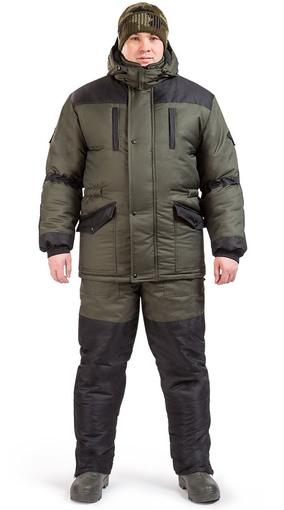 """Куртка зимняя """"Тайга"""" хаки с чёрными вставками"""